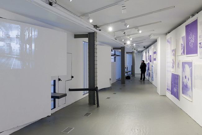 The facade for the <em>BLUEPRINT</em> exhibition was tagged with graffiti soon after it opened.<div id='_mcePaste'>&#65279;&#65279;