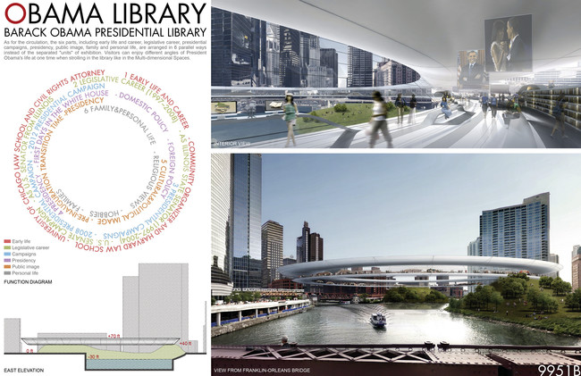 The 800-foot-diameter design would organize artifacts within a series of concentric circles while bridging one of Chicago's rivers.<div id='_mcePaste'>