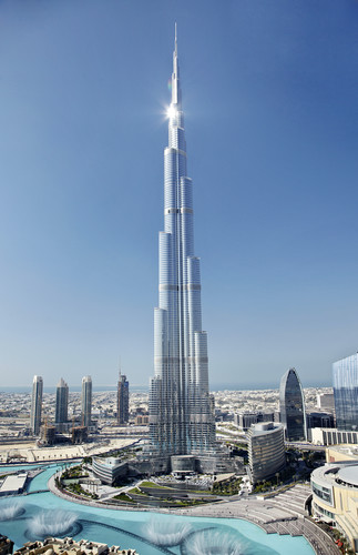 Skidmore, Owings & Merrill's Burj Khalifa in Dubai is 163 stories, with another 46 maintenance levels in spire.