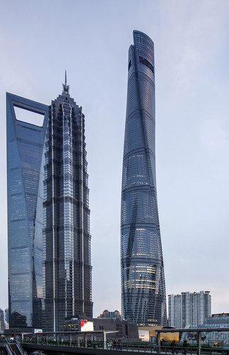 Shanghai Tower with views of The Shanghai World Financial Center (KPF) and Jin Mao Tower (SOM).