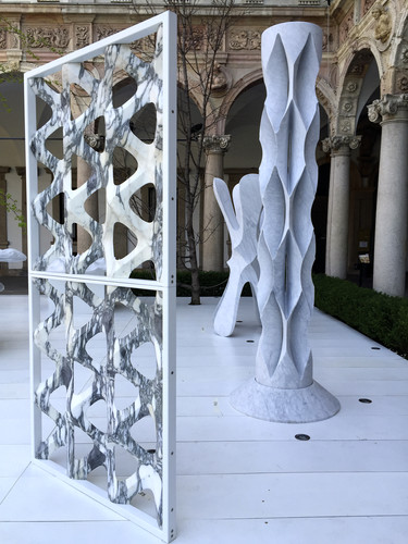 These architectural designs in marble by Raffaello Galliotto were made by diamond wire cutting, diamond disc cutting, and a milling lathe.