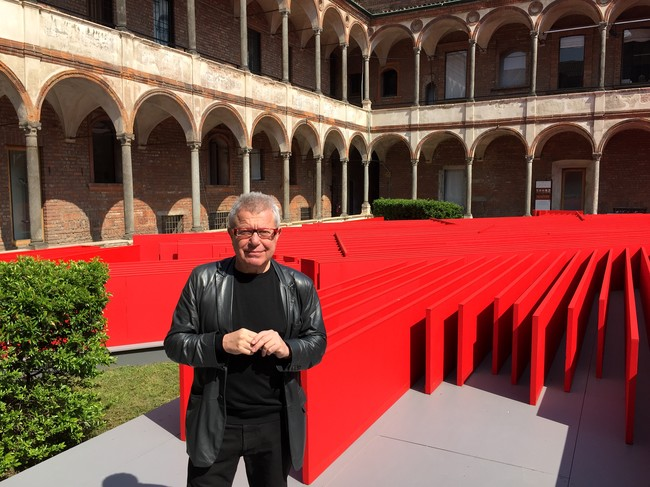 Daniel Libeskind at his 'Future Flowers' installation at the University of Milan.
