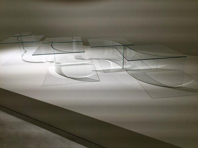 The first floor of Nendo's exhibit at the Museo della Permanente featured the Japanese designer's stunning work for Glas Italia.