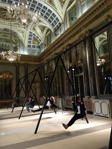 Inside the Neoclassical Palazzo Serbelloni, designer Philippe Malouin created an interactive swing installation showcasing newly launched designs and textures from Caesarstone's surface material colle