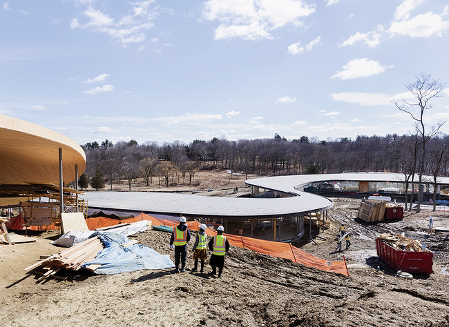 Shown here under construction in late March, the 86,000-square-foot structure will be surrounded by a landscape designed by OLIN in collaboration with SANAA.<div id='_mcePaste'>&#65279;&#65279;
