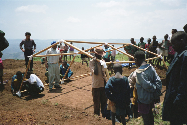 Shigeru Ban first built paper emergency shelters in 1994 for Rwandan refugees.
