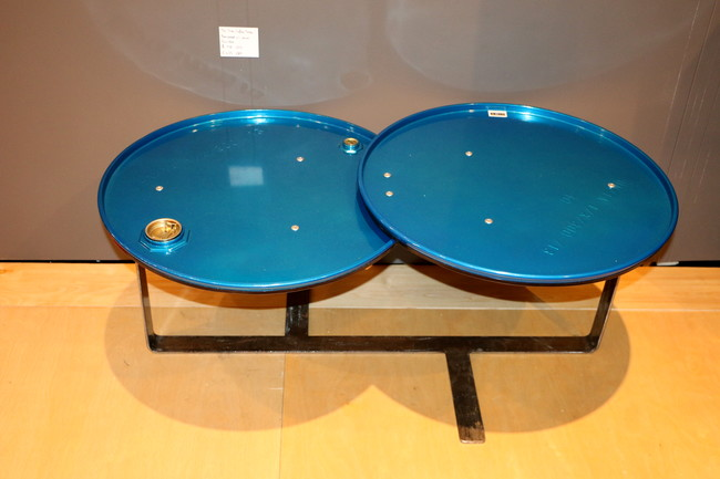 Chairs and tables made of recycled oil barrels by The Urbanite Home, based in Belfast.<div id='_mcePaste'>&#65279;&#65279;