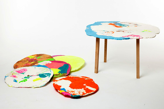 Stephen Johnson created synthetic dough for this colorful tabletop in the new Play collection for Decode.<div id='_mcePaste'>&#65279;&#65279;