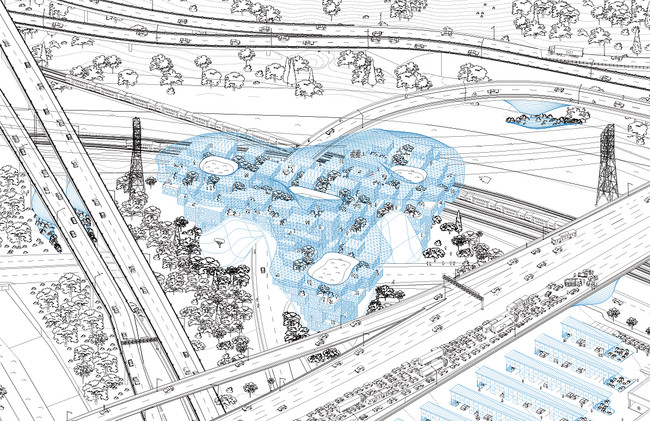 LOHA proposes houses outfitted with large-scale sponges and bladders  that could trap water and deposit it directly into an aquifer. Shown here is a design for a transportation hub. <br /><div id='_mc