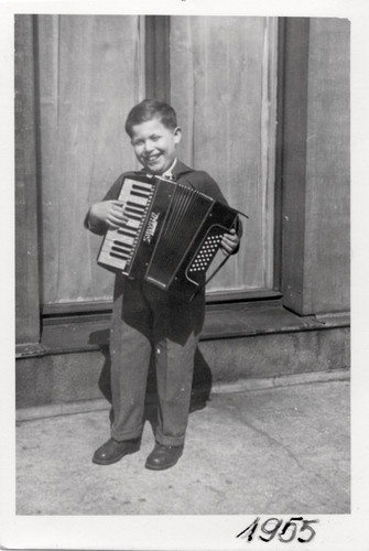 A young Daniel Libeskind with an accordion.