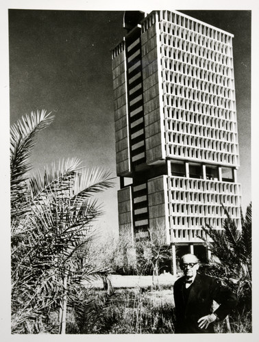 Walter Gropius and the office tower of the University of Bagdhad, 1967.