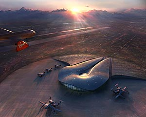 Designed by Foster + Partners and URS Corp., the $198 million Spaceport America project is slated to be built in Upham, New Mexico.