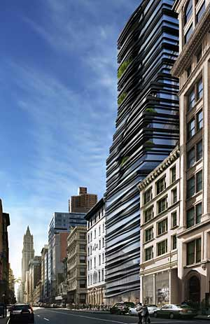 Five Franklin Place, a condominium tower that will rise in Manhattan's swanky Tribeca neighborhood