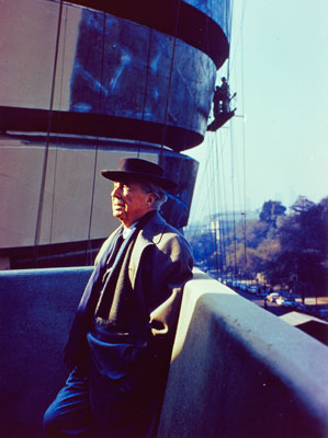 Frank Lloyd Wright during construction of the Solomon R. Guggenheim Museum, New York, ca. 1959.