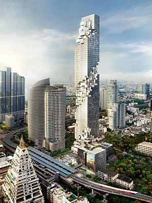 Rendering of the MahaNakhon Tower in Bangkok, Thailand.