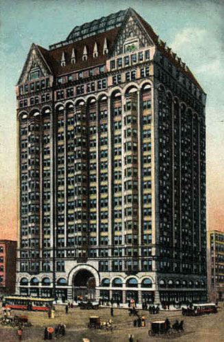 Masonic Temple Building (1892) in Chicago, by Burnham and Root. Demolished in 1939.