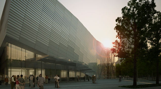 The $610-million memorial and museum project also calls for construction of a pavilion designed by Snøhetta. The 45,000-square-foot structure will be clad in stainless steel.