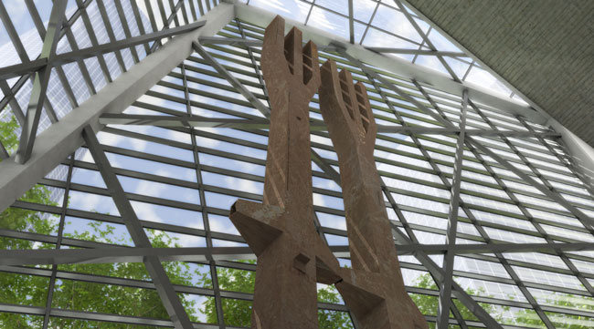 Perhaps the pavilion's most striking feature is pair of trident-shaped steel beams that were salvaged from the Twin Towers, one of which was installed on-site this week. 'It's great to see a place tha