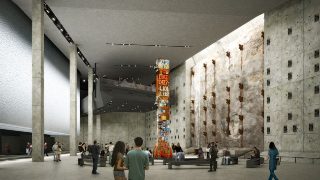 The seven-story 9/11 museum, designed by Davis Brody Bond Aedas, will be located underground, with its lowest level sitting on bedrock 70 feet down. The 120,000-square-foot building will include remna