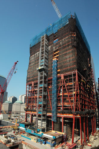 Construction of One World Trade Center is progressing. As of this week, steel framing for 36 stories of the 104-story skyscraper is complete. In October, workers expect to add windows to these levels.