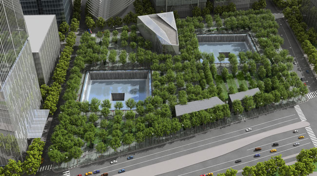 The memorial, designed by Michael Arad and Peter Walker, will feature two 176-by-176-foot pools, whose square shapes mimic the footprints of the Twin Towers.