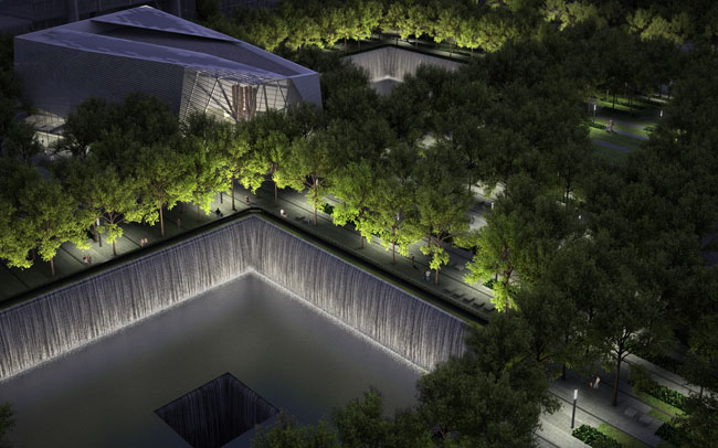 Water will cascade down the sides of the 30-foot-deep pools. They will be the largest artificial waterfalls in America, officials say.
