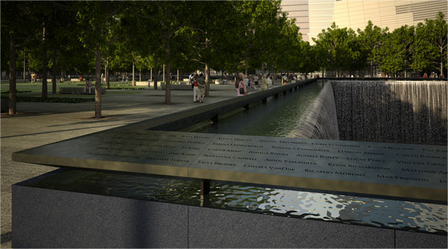 The pools' walls will be inscribed with victims' names.