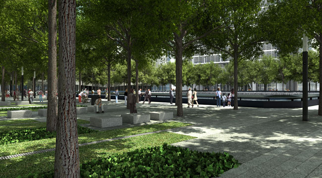 A surrounding plaza will feature 438 swamp white oaks, which are expected to reach heights of 80 feet. All of the trees will come from New York, Pennsylvania, and Virginia'three places prominently aff