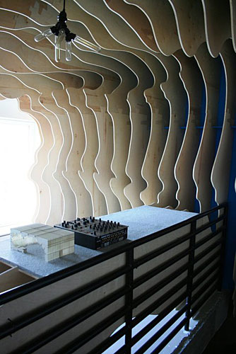 The <i>United States of Tara</i> rooftop was conceived by Brooks Atwood, of POD Design + Media, and Daniel Perlin, of Perlin Studios. The sculptural wooden panels were fabricated by FabLab at the NJIT