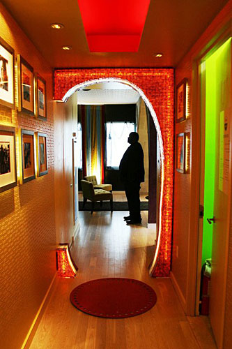 Francesca Bucci and Hans Galutera, of BG Studio International, designed several spaces (including this hallway) inspired by <i>The Big C</i>, a comedy-drama about a woman enduring cancer.