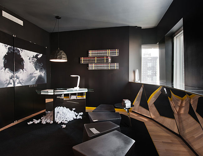 Eric Chan, Bradley Price, Jeff Miller, and Peng Zhao, of ECCO Design, created the <i>Californication</i> lounge. The room features the 'Ribbon' dimmable desk lamp with cold-cathode fluorescent bulbs,