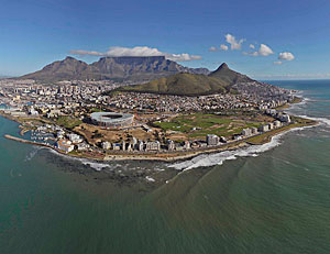 Green Point Stadium, by GMP, in Cape Town, South Africa.