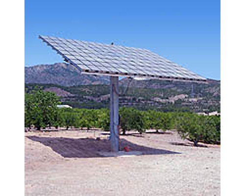 The Concentrix solar panel, being distributed in the States through Johnson Controls, mounts on a pole that tracks the sun.