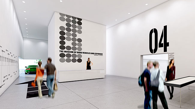 The museum's interior will be mostly white contrasted with bold graphics. A concrete floor and exposed ductwork will give it a workshop theme akin to the Q-Branch laboratory, where Bond famously teste