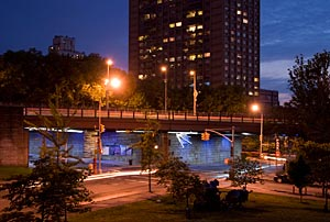 a permanent lighting installation for a Brooklyn Bridge underpass
