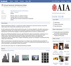 "AIA's ""Virtual National Architecture Week"" page in Facebook"