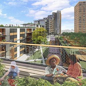 Via Verde, a multifamily project designed by Grimshaw Architects and Dattner Architects, is planned for the South Bronx.