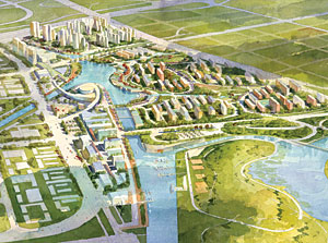 SWA Group designed a master plan that uses canals and waterways for easy transportation.