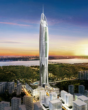 The 725,000-square-foot skyscraper appears to swell slightly as it rises, evoking traditional Korean pottery that is slender at the base and flared at the top.