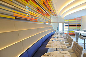 The Wright restaurant opened this month as part of the Guggenheim's 50th anniversary celebration. The 1,600-sqaure-foot eatery was designed by Andre Kikoski Architect.