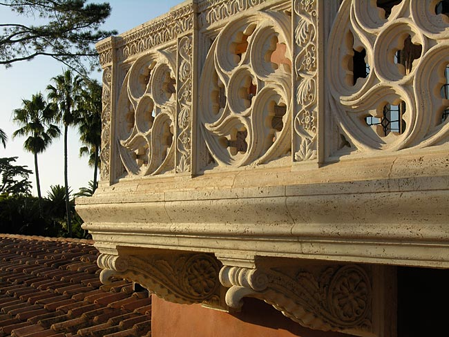 The detail of a balcony of a home in Montecito, Calif. designed by Thomas Bollay.