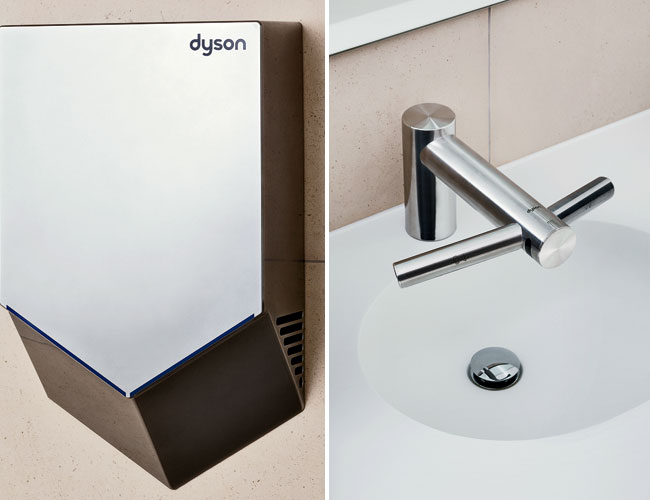 Engineered for various washroom environments, Dyson's next generation of Airblade hand dryers produce sheets of high-velocity  unheated air that travel through tiny apertures at 420 mph to scr
