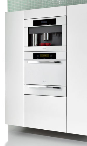 "Miele's new Brilliant White Plus series of built-in appliances includes a 30"" convection oven, steam oven, speed oven, and whole-bean coffee system and cup warmer. The streamlined ch"