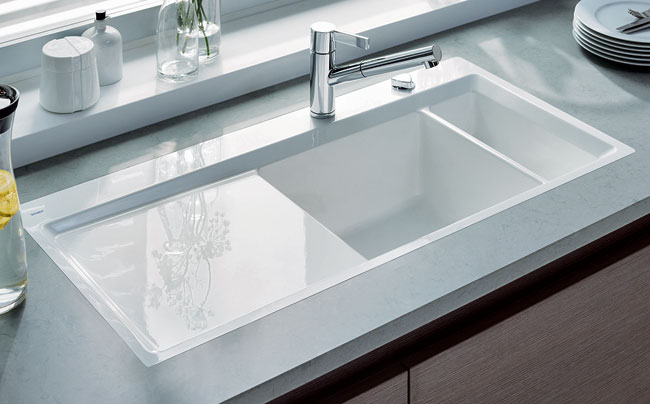 "Duravit has expanded its range of kitchen ceramics with the new Kiora sink. Sieger Design created a rectilinear sink for Duravit with a 2""-wide frame that tapers inward with a slim, elegant"