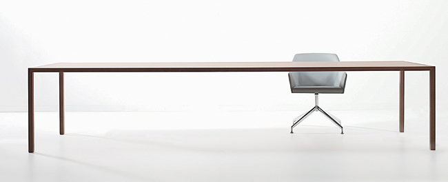 "An antidote to staid conference room furniture, this ultra-slim table by Davis is engineered to support a top as long as 144"". Made with an aluminum sheet affixed to a lightweight substrate on f"
