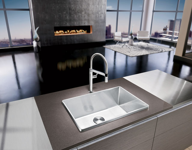 The antithesis of the discreet undermount sink, Blanco's Attika makes a bold design statement with its elevated, geometric rim, while also helping to reduce excess splashing onto adjacent work surface