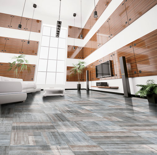 Rather than reproduce wood or concrete styles that are curently popular in the tile market, Bellavita Tile has created Archetype , a unique design that draws inspiration from various textures—fr