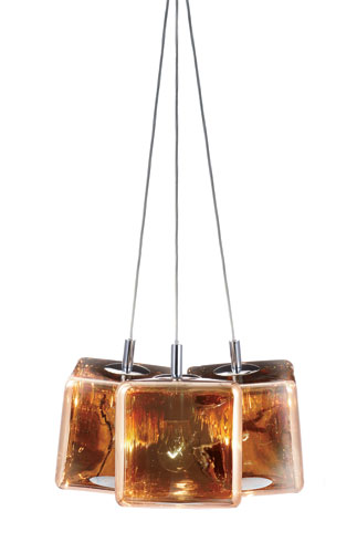 "Resembling a perfectly shaped ice cube, Viso's H2O is actually  made of polycarbonate with a semi-metallized finish in silver, copper, or gold tone. Each diffuser measures 8"" or 12"" cubed"