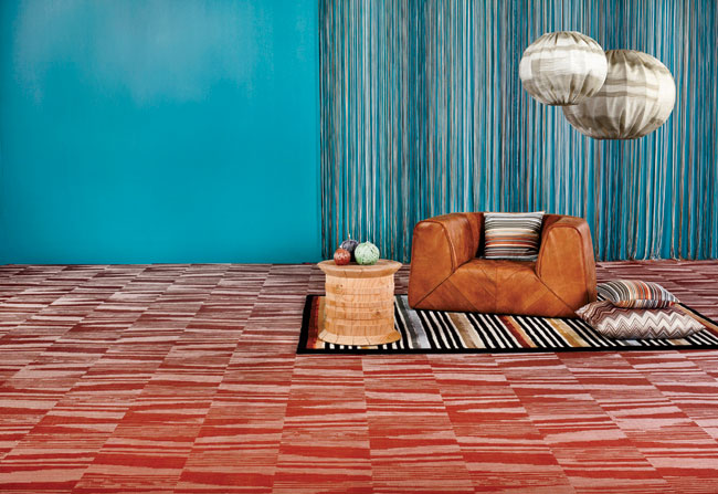 Following the success of its 2012 collaboration with fashion and home-decor company Missoni, flooring manufacturer Bolon has revamped the color palette for one of its Missoni-collection patterns. Flam