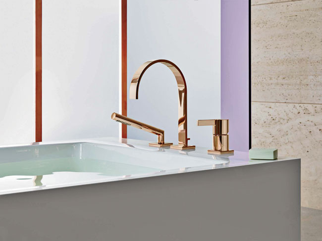 Trends indicate that rose gold is making a comeback, and Dornbracht is embracing this, introducing the colored-gilt finish  to its most iconic sink and tub fixtures. Cyprum —a name derived from